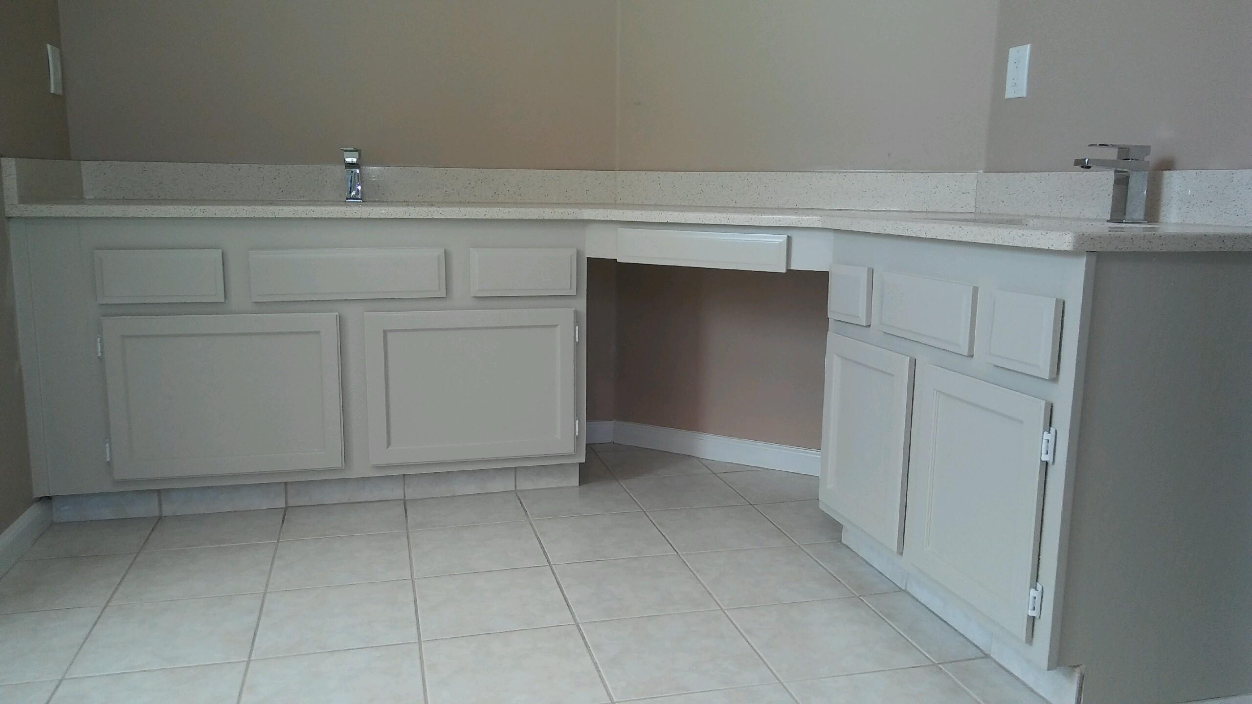 Bathroom vanity and cabinet painting in jacksonville home for Catalyzed lacquer kitchen cabinets