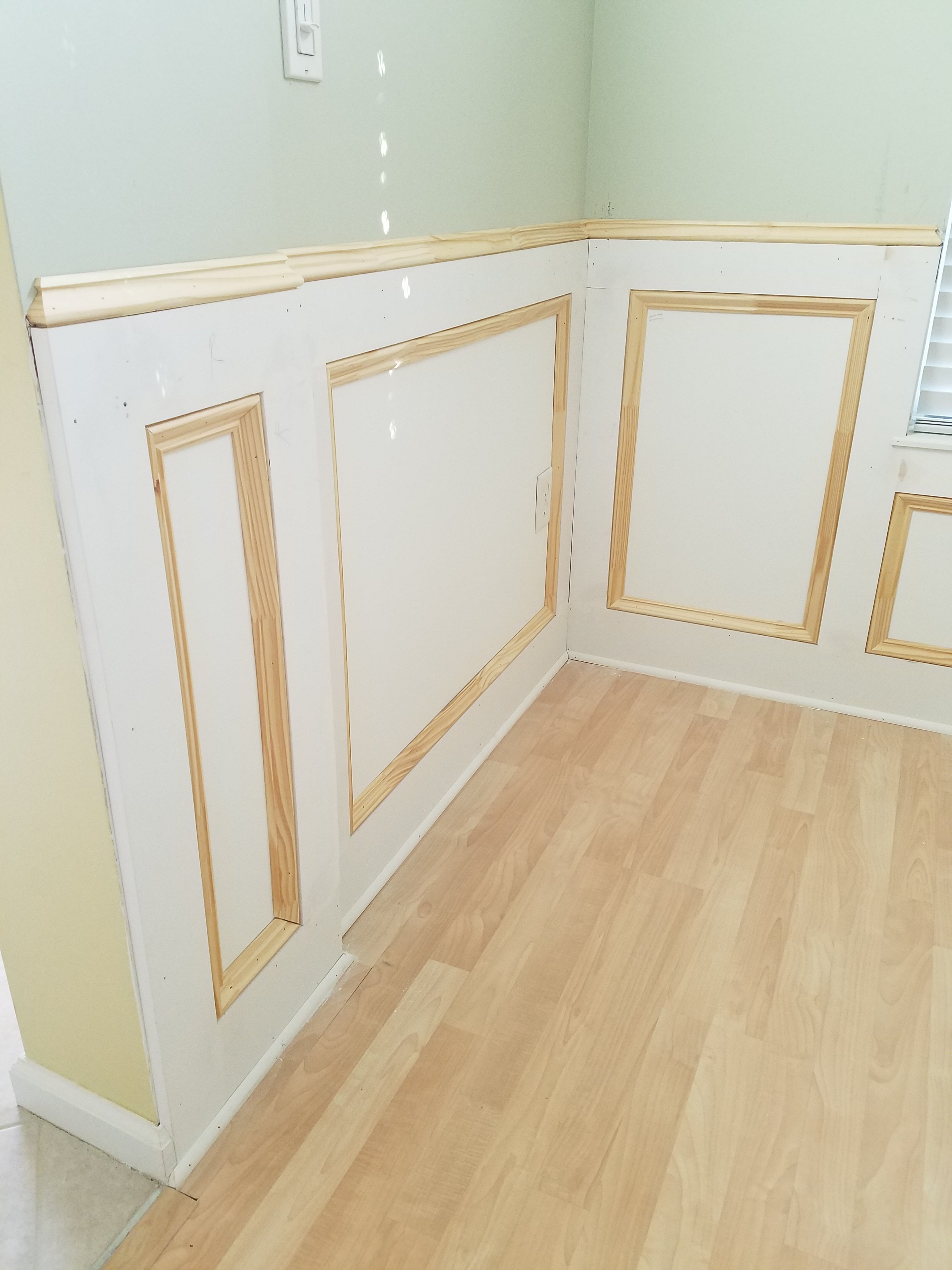 Recessed Panel Reveal Styled Wainscoting Installation In