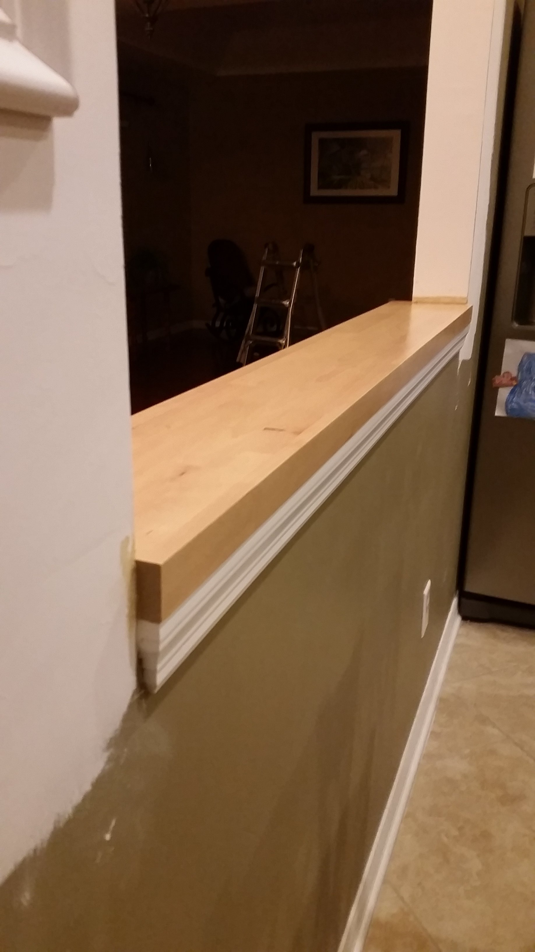 wall reduction trim install and butcher block install