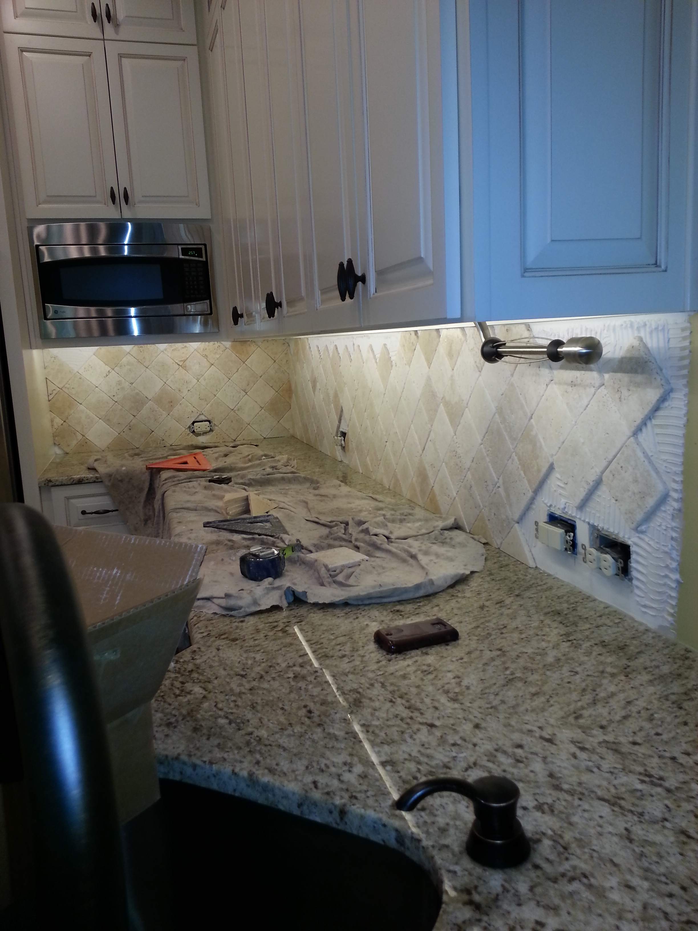 Custom kitchen tile backsplash over stove by aaa - Custom kitchen backsplash tiles ...
