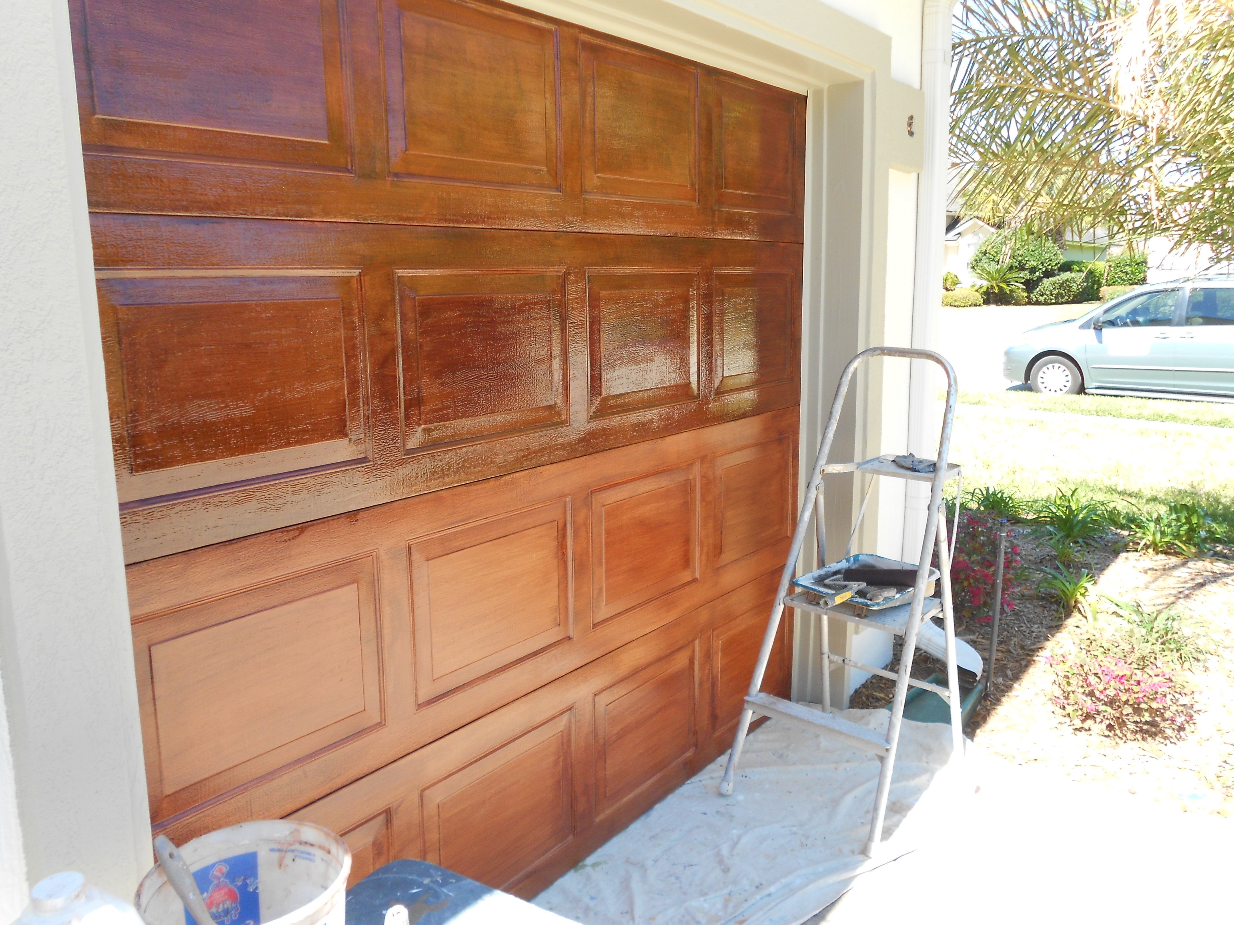 Faux finishing for Garage door finishes