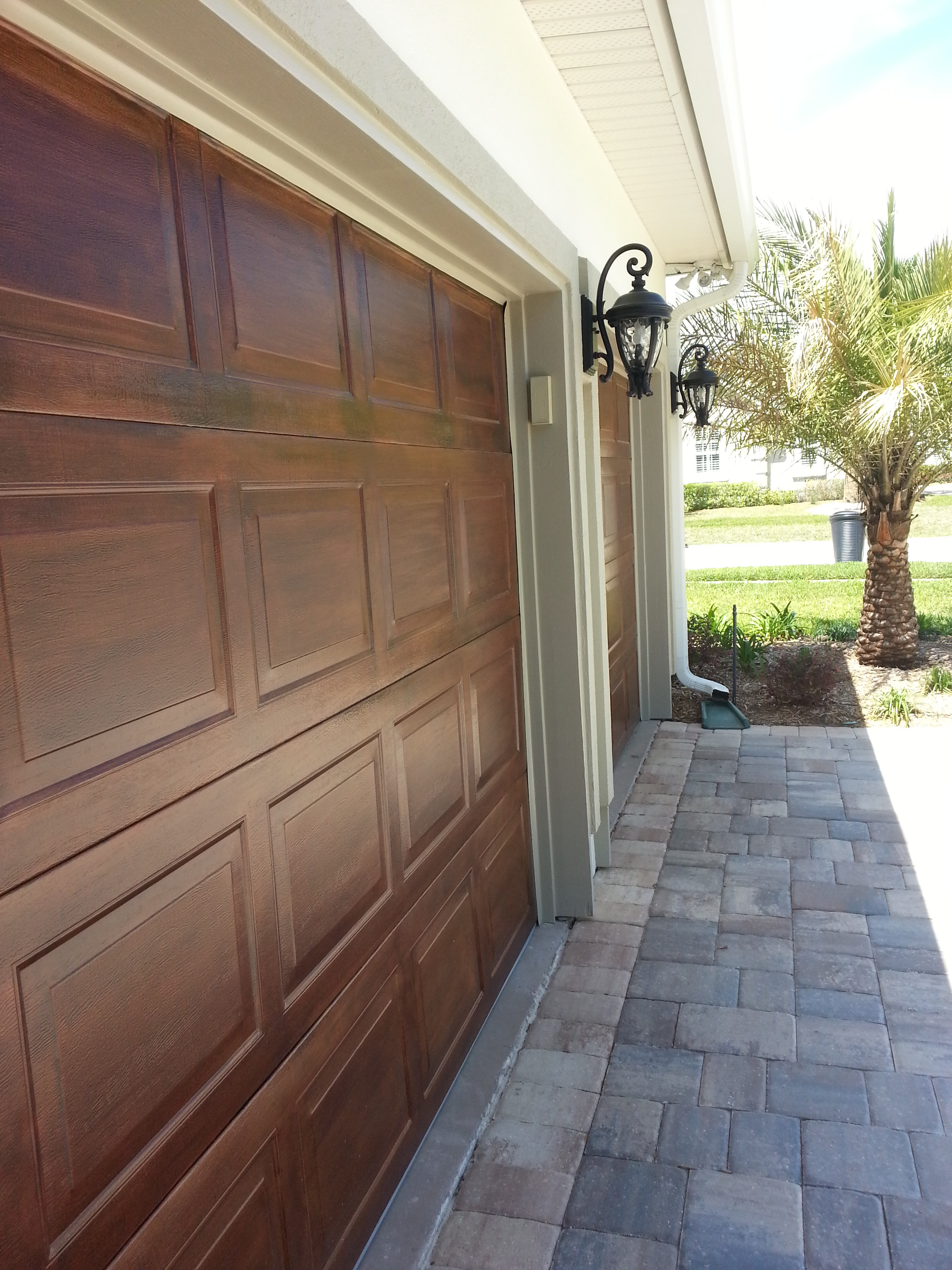 Custom Wood Grain On Metal Garage Door Treatment